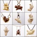 Tiny Stoneware Hippo Necklaces