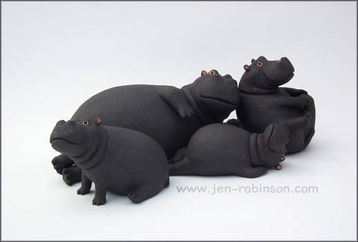 Black Stoneware Hippo Family