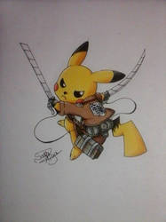 Pikachu SnK by Miya-Sara