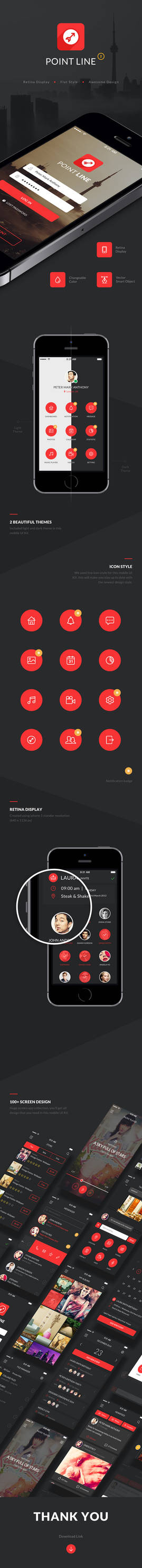 Point Flat Mobile App UI Kit by diekave