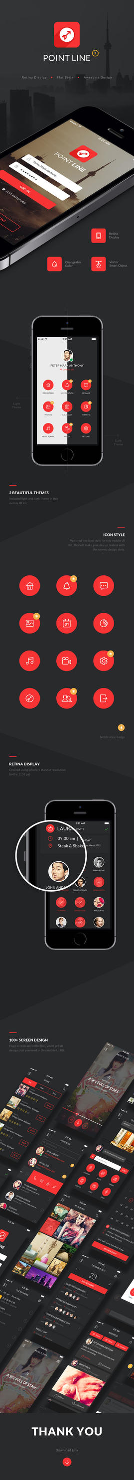 Point Flat Mobile App UI Kit by diekave