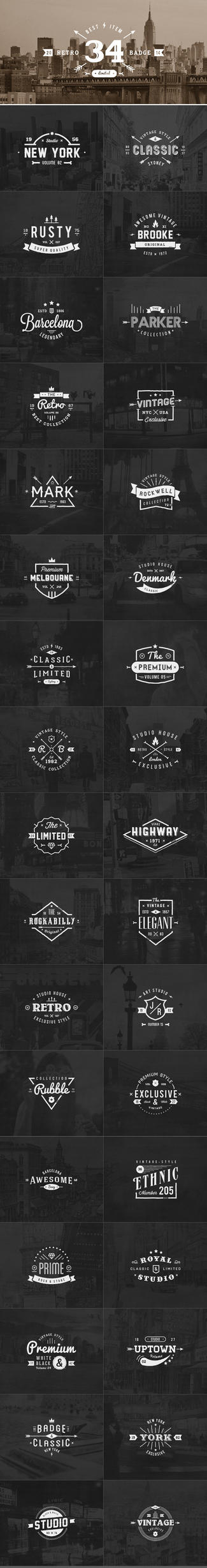 34 Retro Labels Badges by diekave