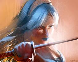 blue sword by Pierrick