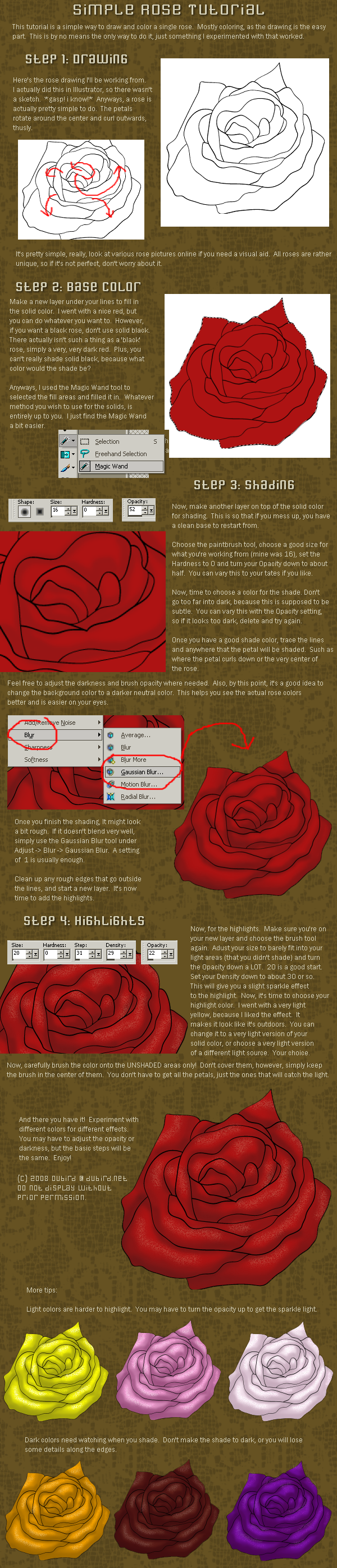 Simple Rose Tutorial by dubird
