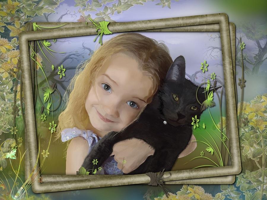 Girl and cat by ellanoir1