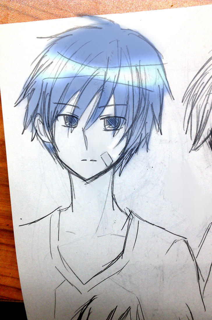 Kuroko - sitting on my bishie sketchbook by sho-ta-con