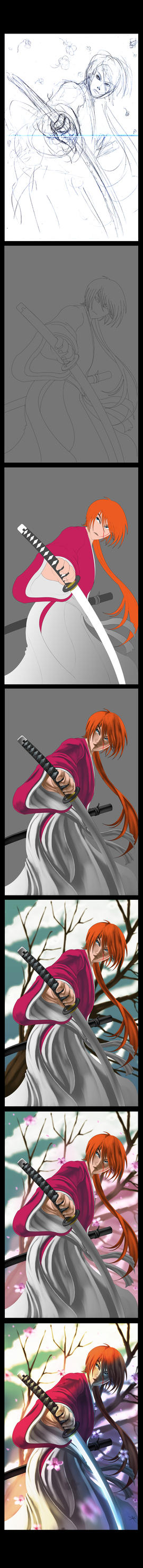 Rurouni Kenshin: Process by digitalninja