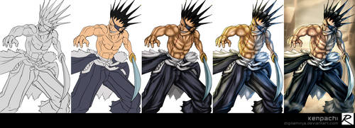 Tutorial - Color Process - Kenpachi by digitalninja