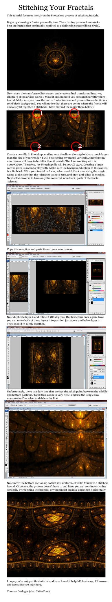 Fractal Stitching Tutorial by CabinTom