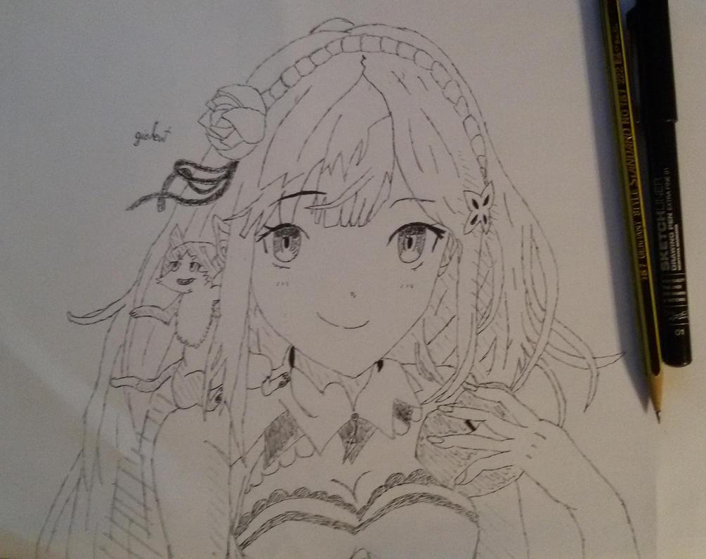 Line Art Zero : Emilia line art sketch from re zero by giolent on deviantart