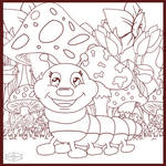 Cute Caterpillar colouring page by HaruRyomaru86
