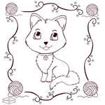 Chibi Cat Colouring Page by HaruRyomaru86