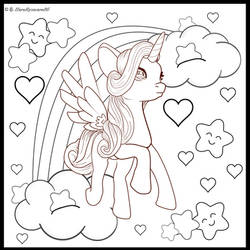 Winged Unicorn Colouring Page