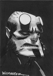 Hellboy Sketchcard by jeffwamester