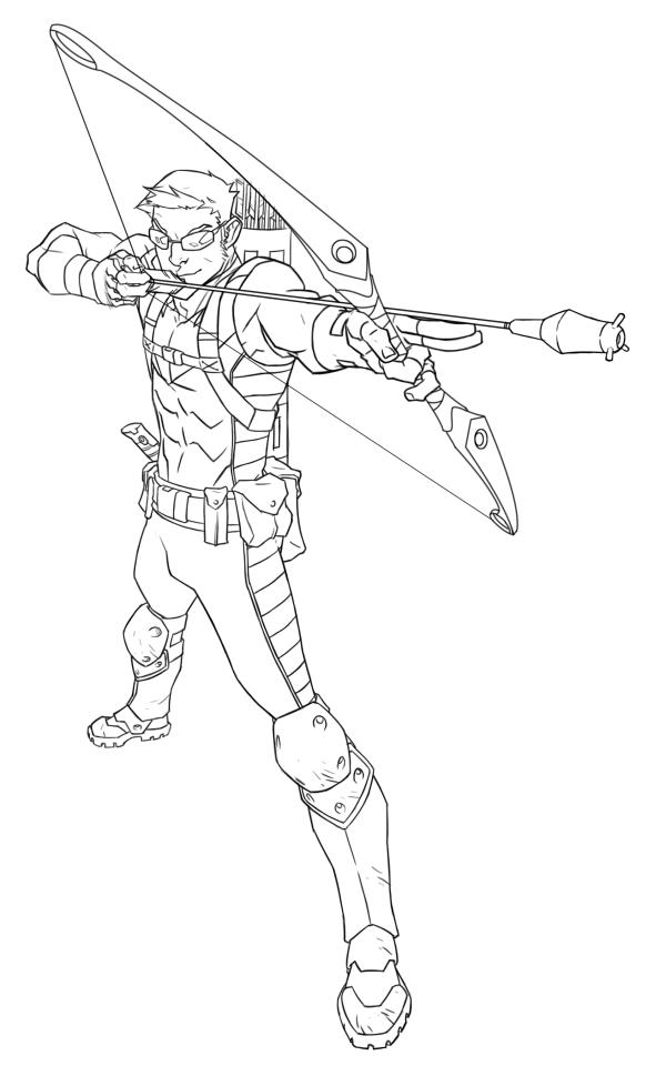 Hawkeye Lineart by jeffwamester