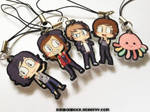 Kellin, Vic, Alex, Austin, and Squidgy charms