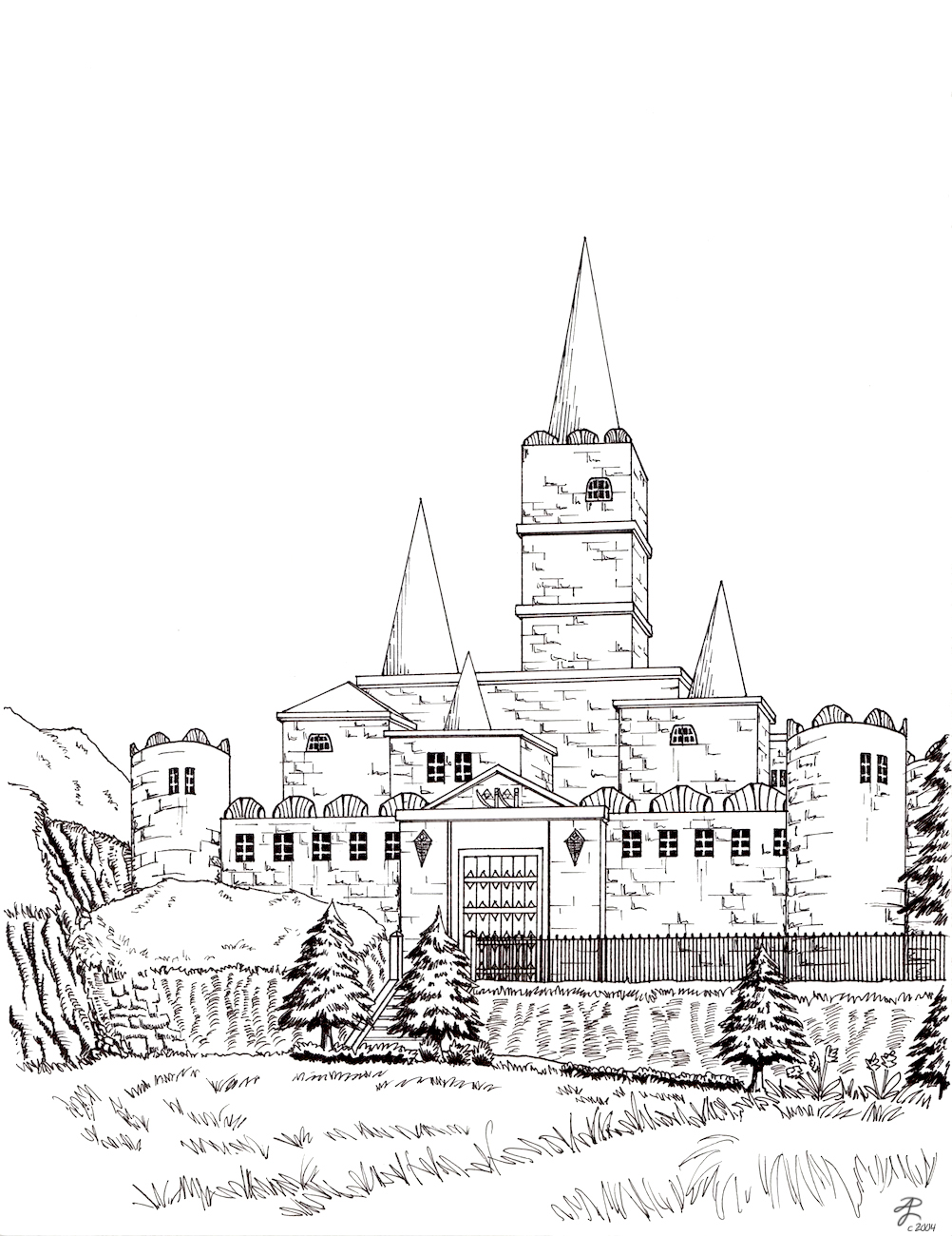 Hyrule Castle - lineart by Contraltissimo