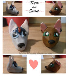 Spirit and Kyra-Clay Head Sculptures