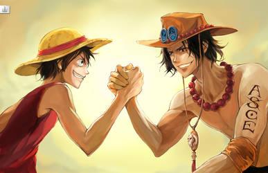 Luffy x Ace Brotherhood by koloromuj