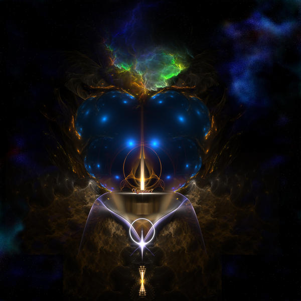 A Stellar Blue Golden Fractal Collage by xzendor7