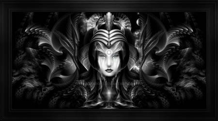 Cyiria Queen Of The Dark Realm Fractal Art Portrai