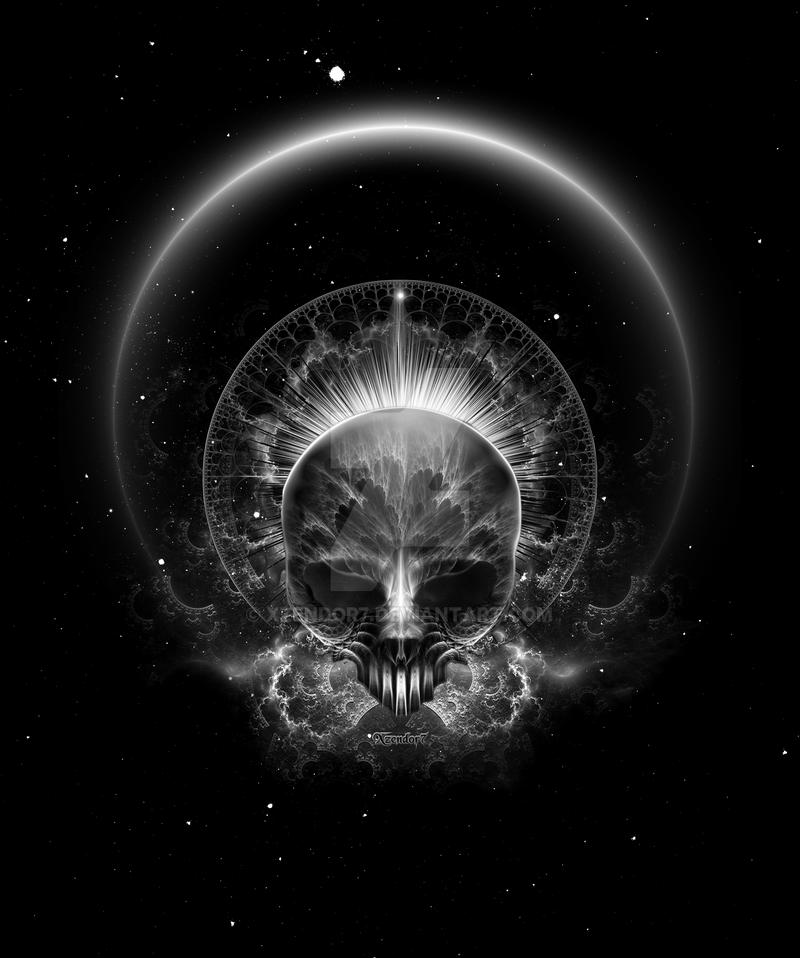Gothic Skull Blaze Abstract Digital Art
