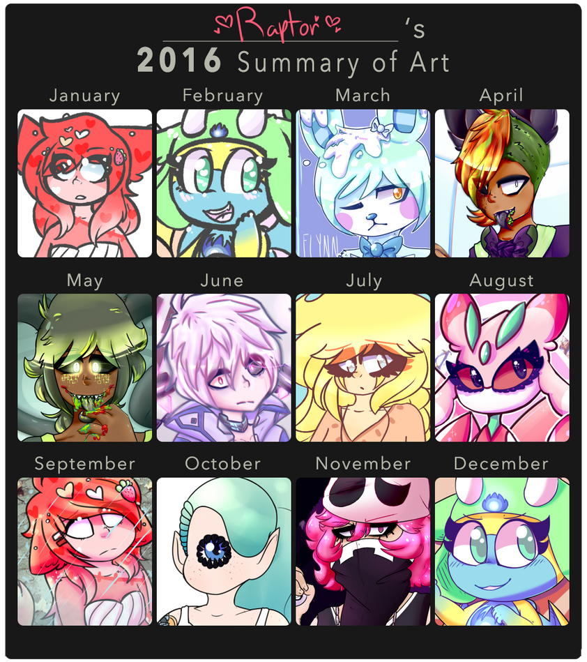 2016 Art Summary by royalraptors