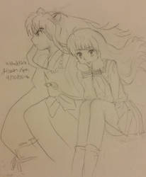 Inuyasha Kagome sketch by XtheXKXX