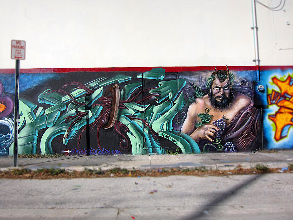 Art Basel Miami Dionysus Wine God Graffiti Piece by ...