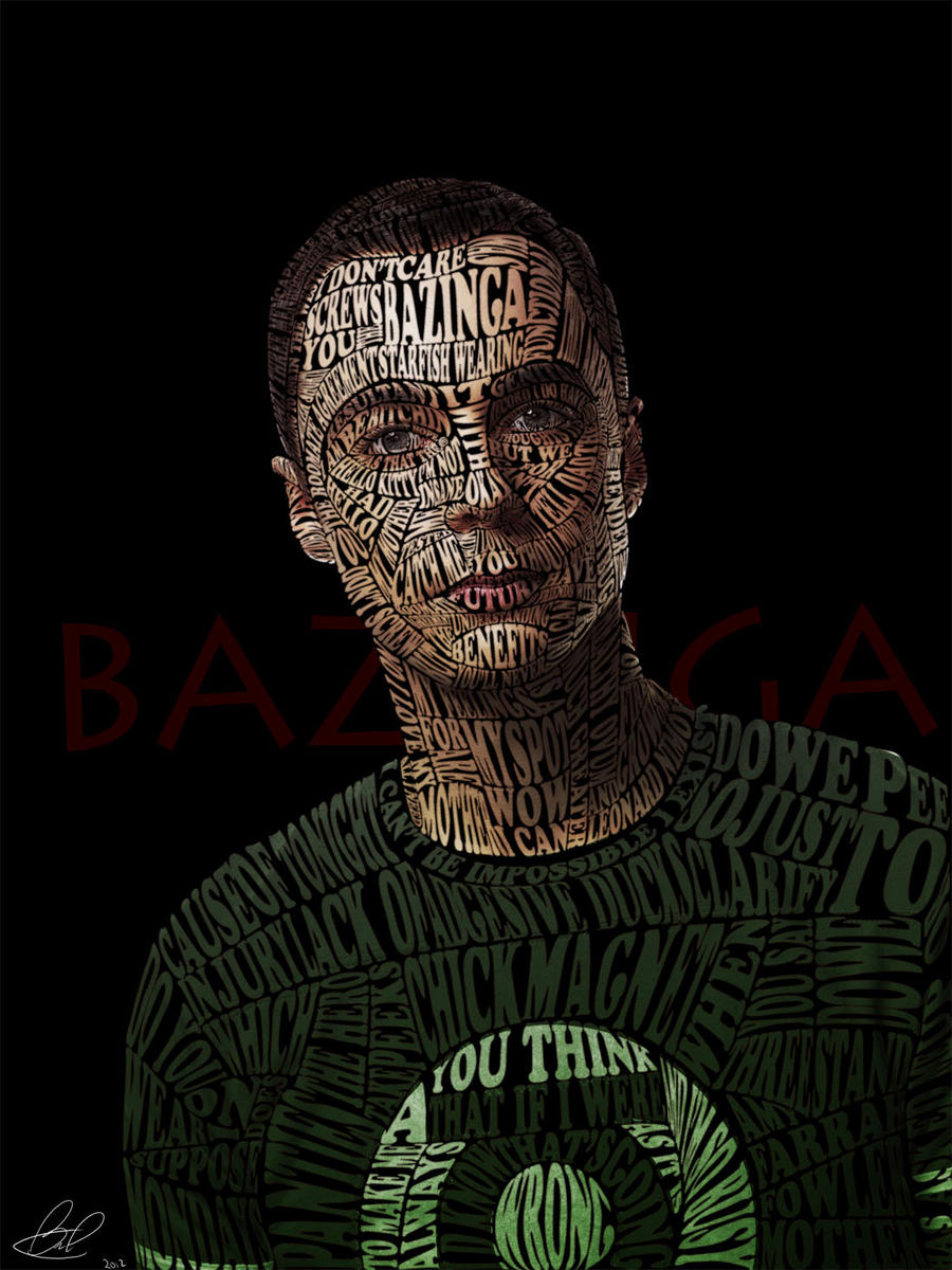 Typographic Portrait Sheldon Cooper by Automaticize