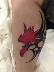 Cardinal Tattoo- on my leg by CR4ZY-CHR1S