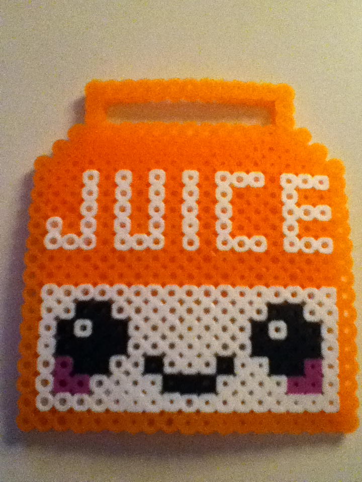 Juice Box Cartoon Perler Bead Juice Box by