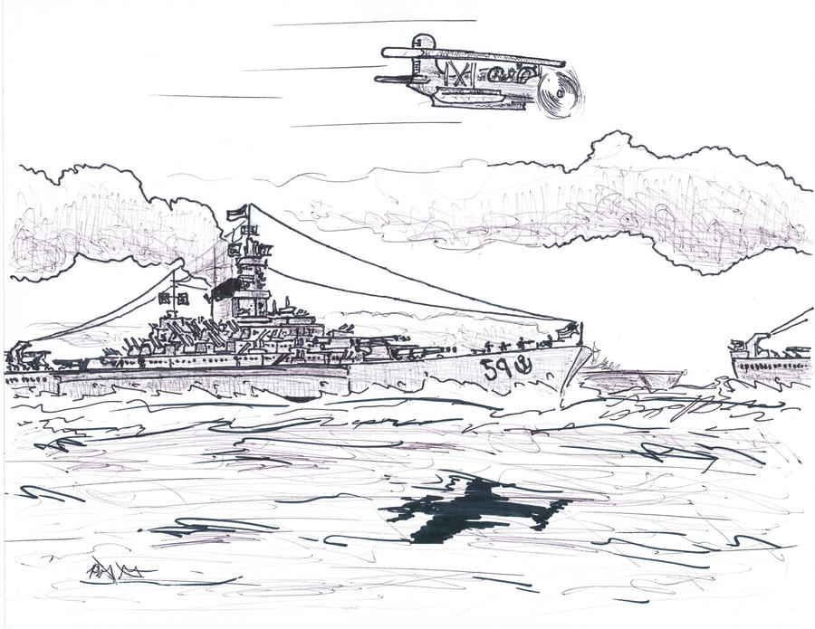 USS Massachusetts at Sea by BadgerN00b