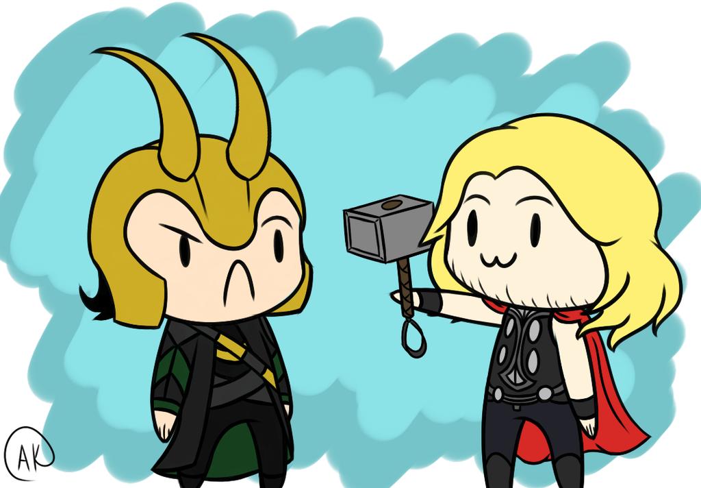 Chibi Loki and Thor by TheZealotNightmare on DeviantArt