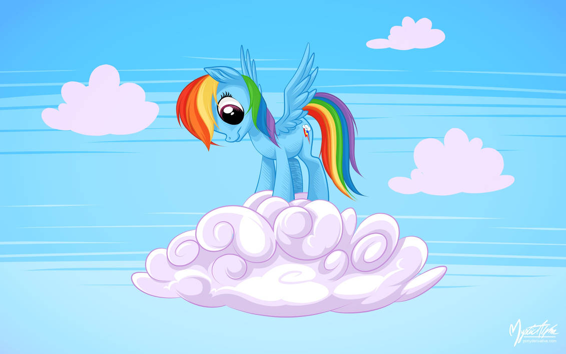Rainbow Dash on a cloud 01 by mysticalpha