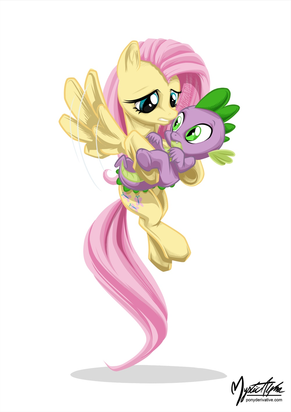 Fluttershy Holding Spike by mysticalpha