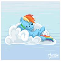Rainbow Dash on a Cloud 05 by mysticalpha