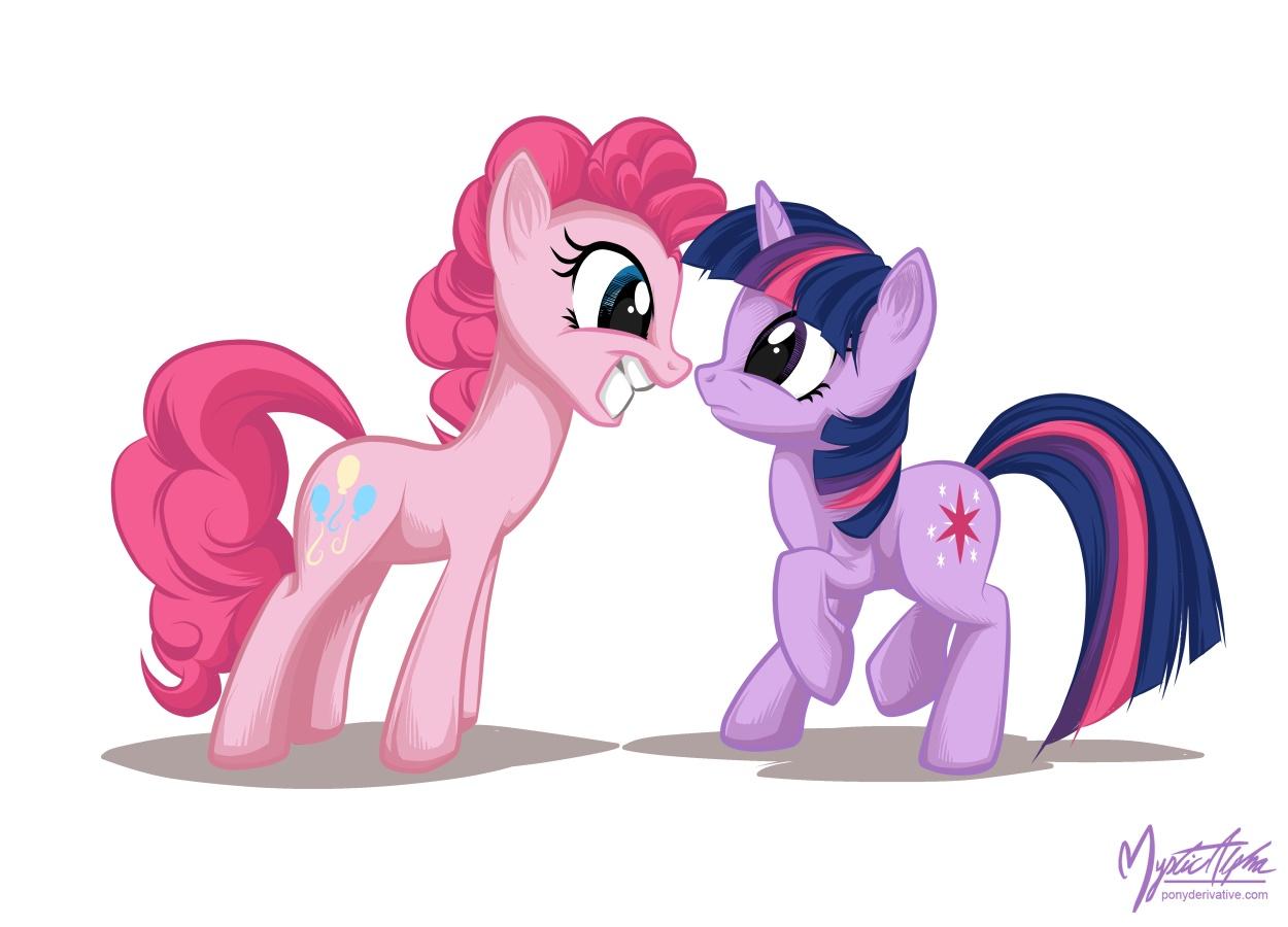 Twilight Sparkle + Pinkie Pie by mysticalpha