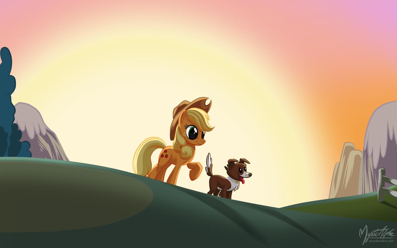 Applejack + Winona by mysticalpha