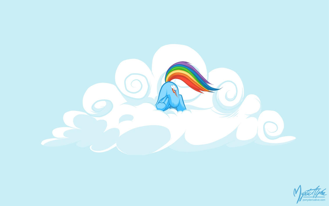 Rainbow Dash Head in the Clouds by mysticalpha