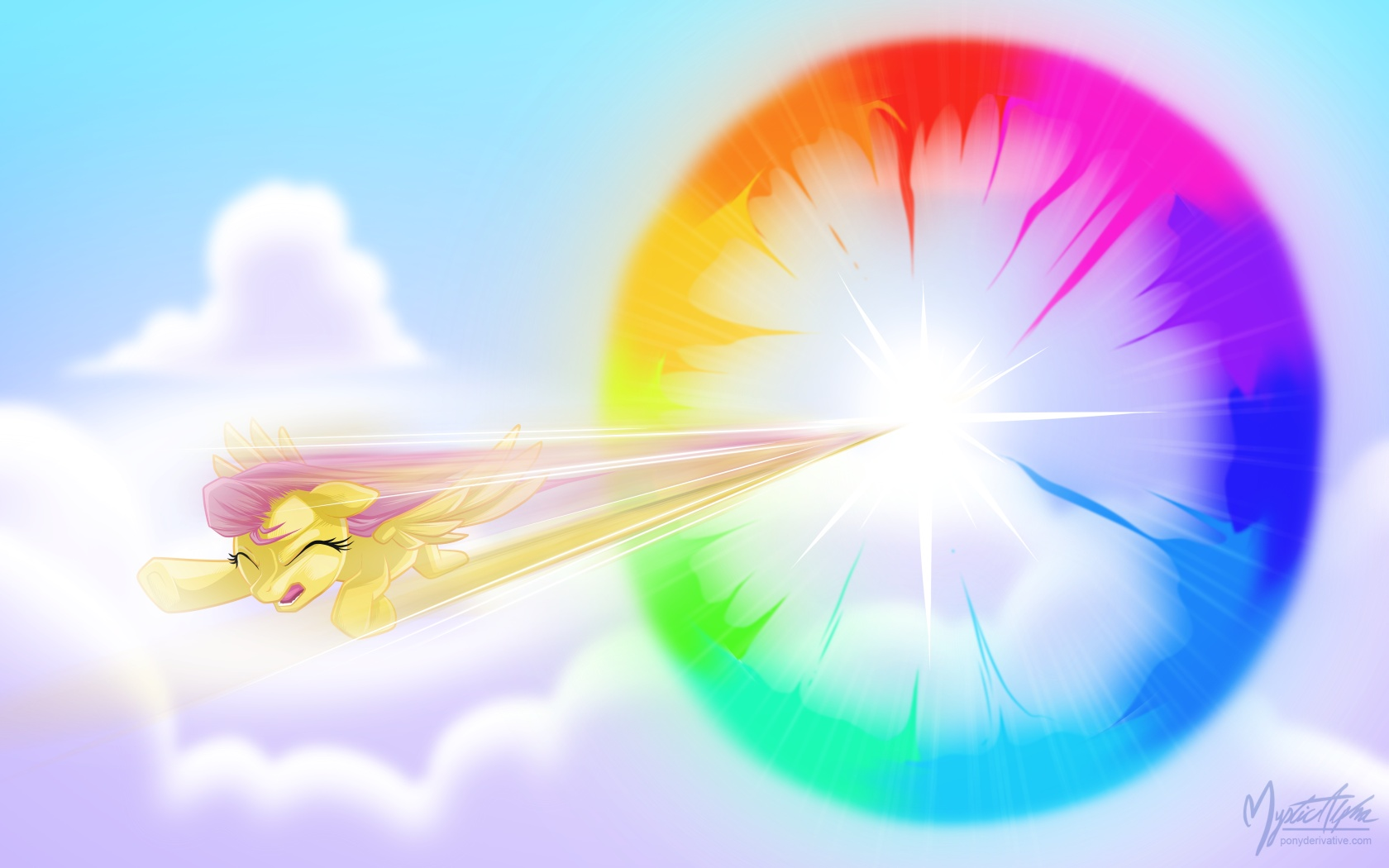 Fluttershy - Sonic Rainboom by mysticalpha