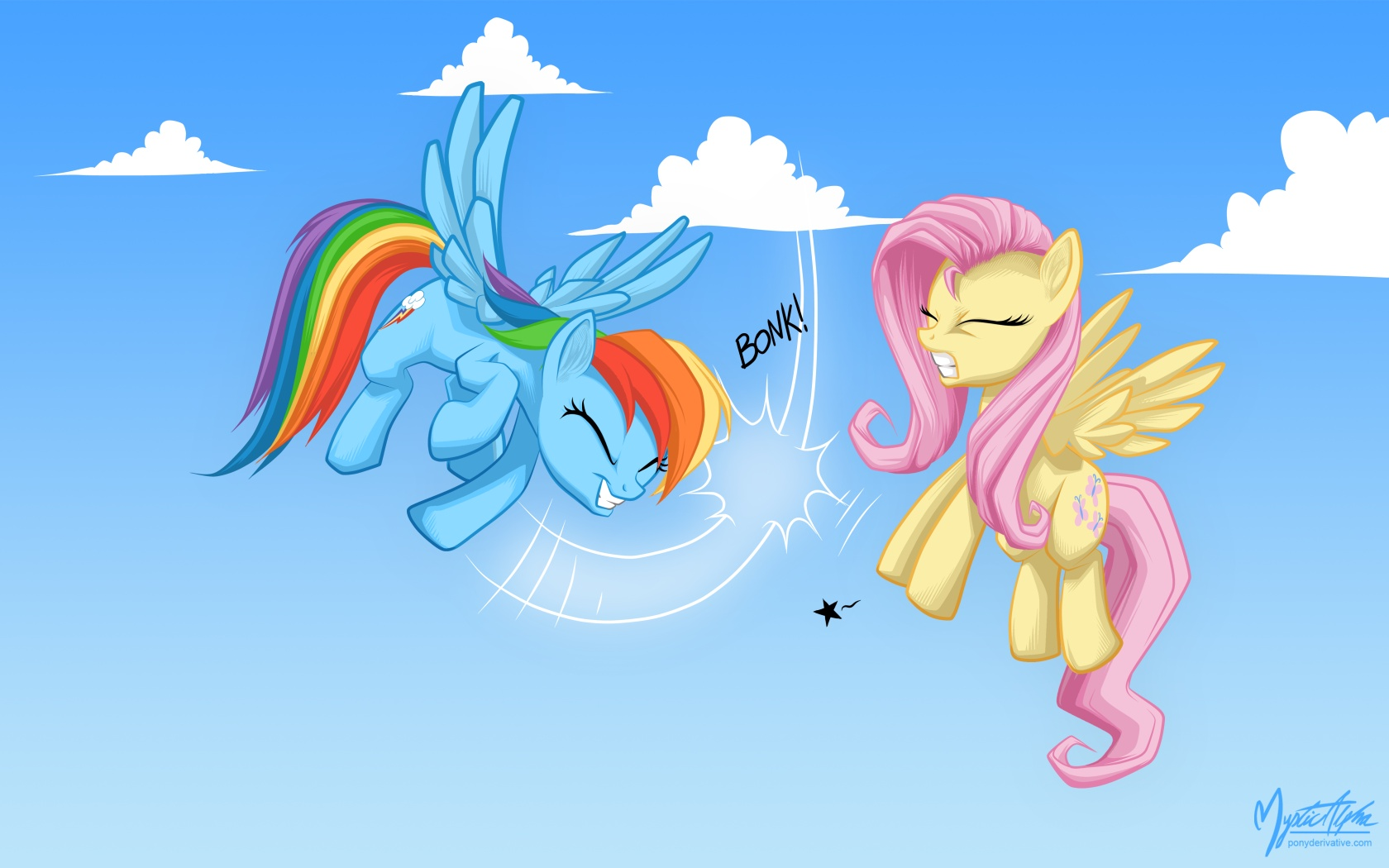 Rainbow dash and fluttershy - hoof slap by mysticalpha