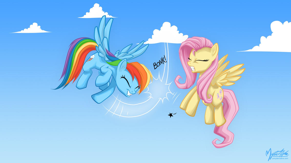 Rainbow dash and fluttershy - hoof slap 1920 by mysticalpha