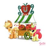 Applejack and Apple Bloom - Apple Stand