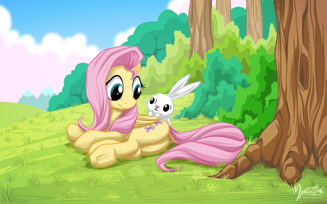 Fluttershy and Angel by mysticalpha