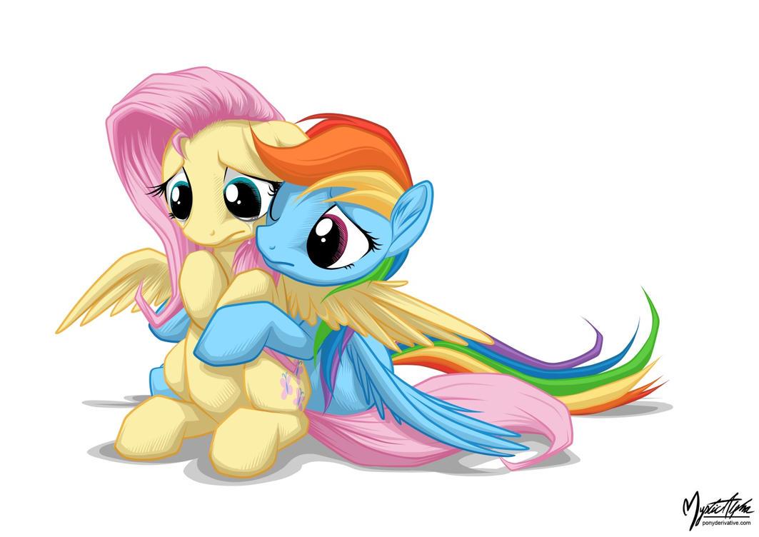 Rainbow Hugs Fluttershy by mysticalpha