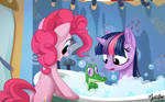 Twilight, Pinkie and Gummy - Bath Time