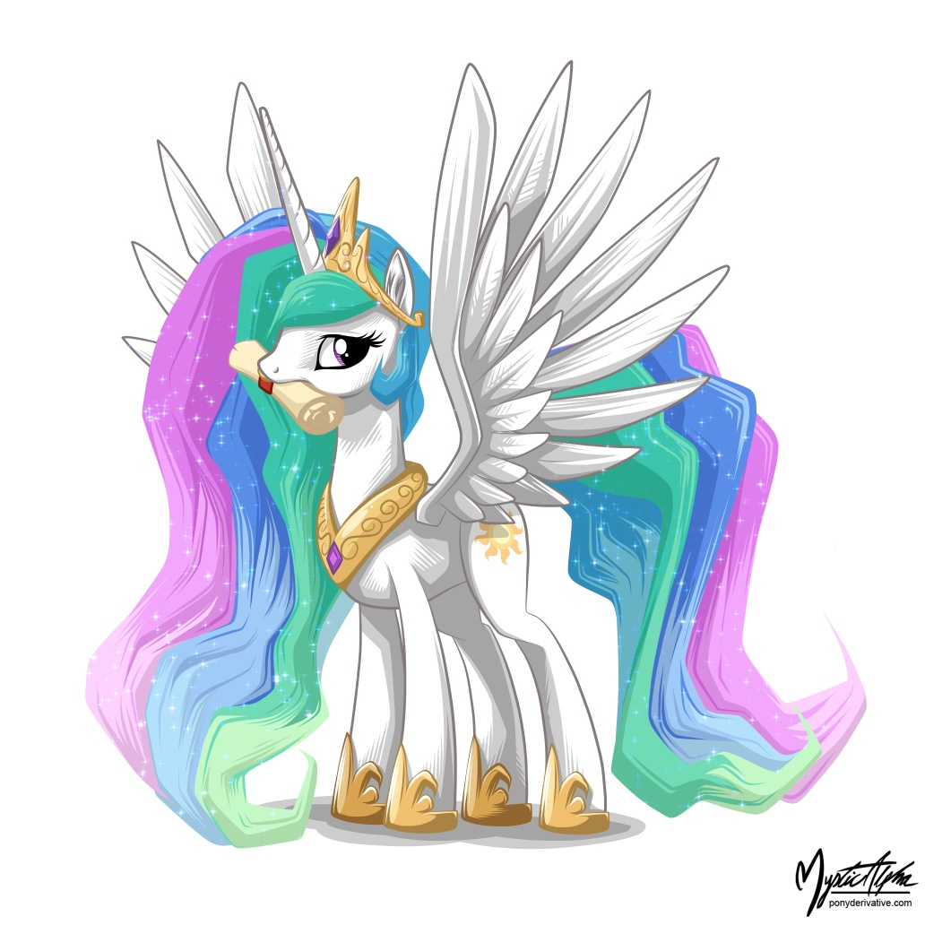 Princess Celestia with Scroll by mysticalpha