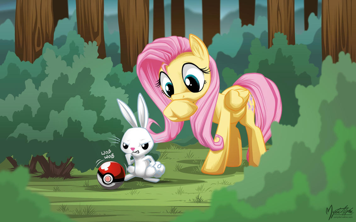 Fluttershy and Angel catches something by mysticalpha