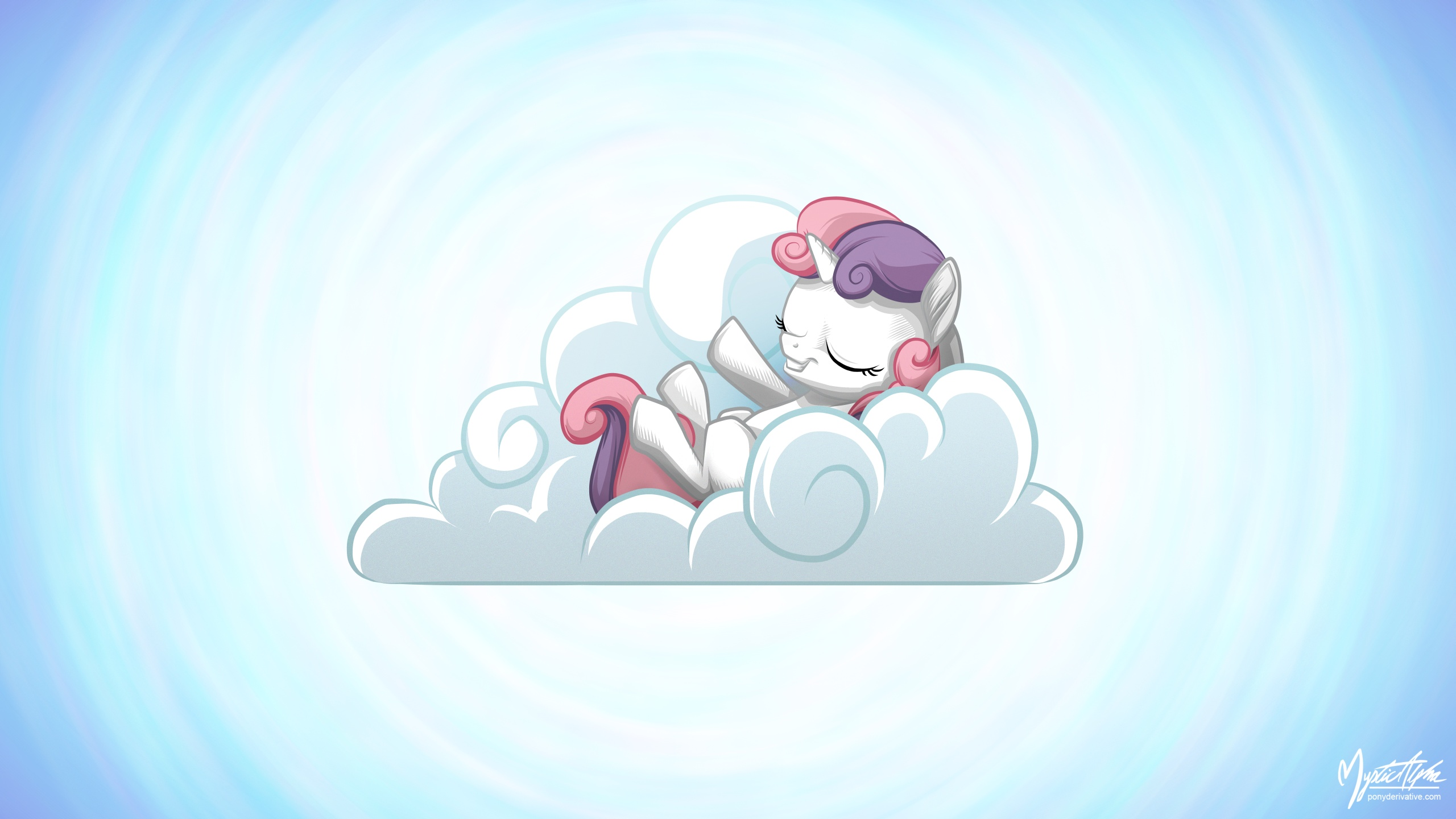 Sweetie Belle on a Cloud 16.9 by mysticalpha